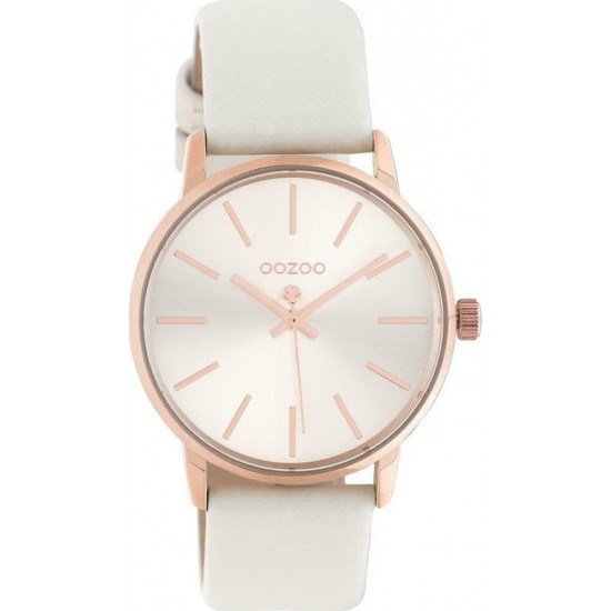 OOZOO Timepieces White Leather Strap C10720