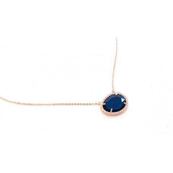 Κολιέ Ora Ora από επιχρυσωμένο χαλκό με μπλε πέτρα ER-1783