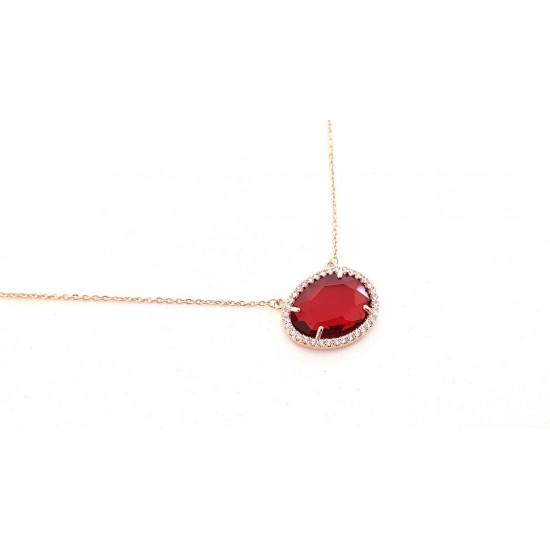 Κολιέ Ora Ora από επιχρυσωμένο χαλκό με κόκκινη πέτρα ER-1785