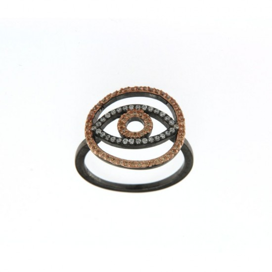 Δαχτυλίδι Jools από ασήμι 925 με σχέδιο μάτι και ζιργκόν R170076.3