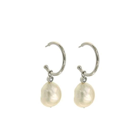 Σκουλαρίκια Jools από ασήμι 925 με ζιργκόν και μαργαριτάρι SAE5361.1