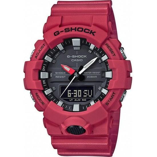 CASIO G-Shock Analog-Digital Red Rubber Strap GA-800-4AER