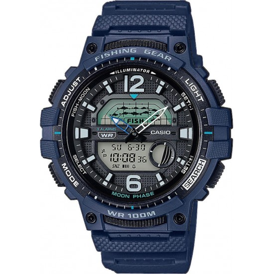 Casio Collection Dual Time Chronograph Blue Rubber Strap WSC-1250H-2AVEF